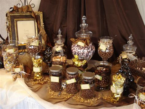 Chocolate Candy Buffet In Brown Gold Fun Desserts Gold Buffet Table
