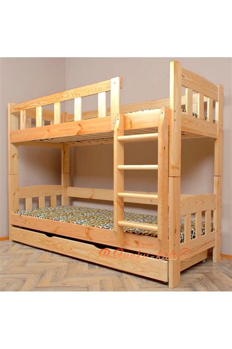 Solid Pine Wood Bunk Bed Inez With Mattresses And Drawer Wood Bunk Beds