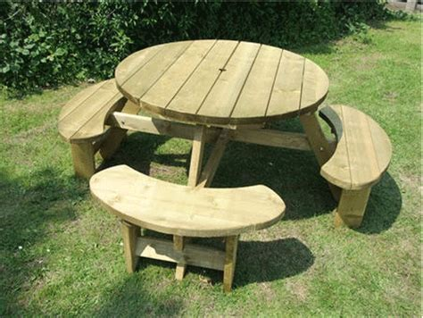 buy picnic bench winchester treated 8 seater round picnic table bench