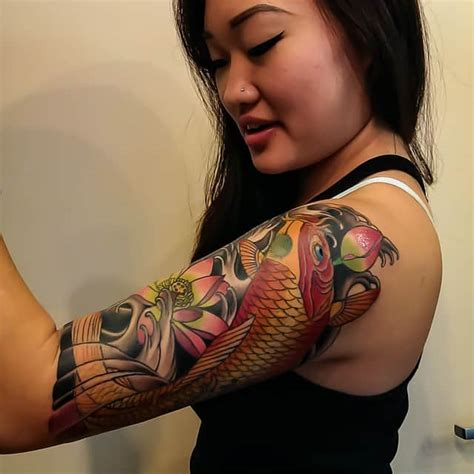 ladies half sleeve tattoo designs 42 mind blowing koi designs exles sheideas