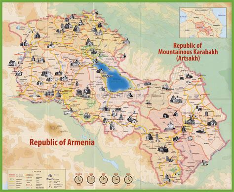 sightseeing map of tourist map of armenia with sightseeings