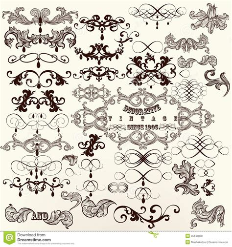 calligraphic vintage design elements vector set calligraphic set of vintage vector decorative elements