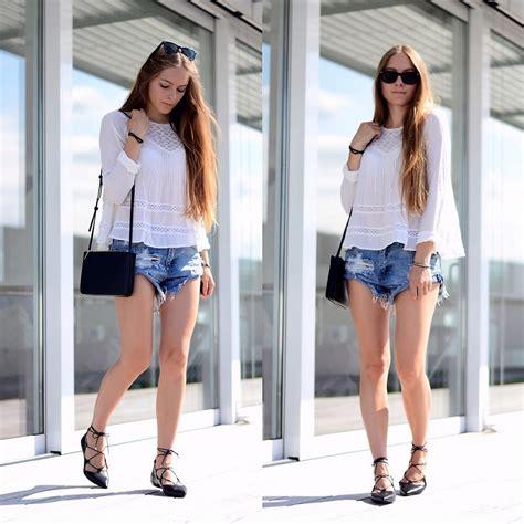 Fla Zara Highheels r denim shorts lace up flats lookbook