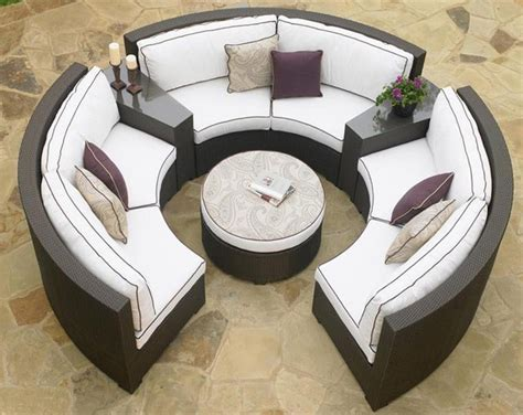 outdoor furniture circular couch circular patio sectional dark wicker modern outdoor