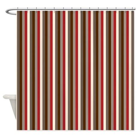 red and gray curtains red gray brown stripes shower curtain by