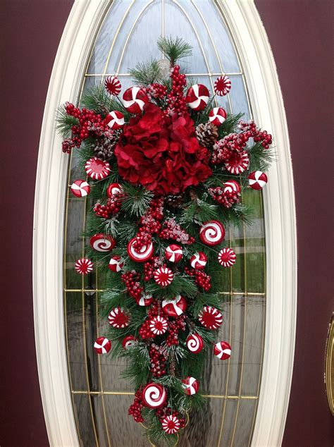 christmas wreath winter wreath vertical teardrop door swag