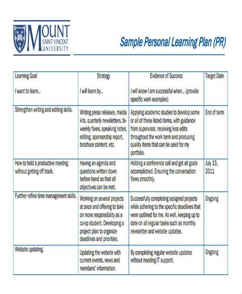 personal learning plan template 7 personal plan sles templates pdf doc
