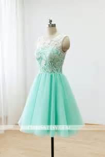 Custom lace bridesmaid dress prom dress mint green dress knee short