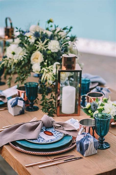 copper  teal wedding table decor ideas indigo wedding