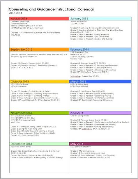 school counselor calendar guidance calendar school counseling