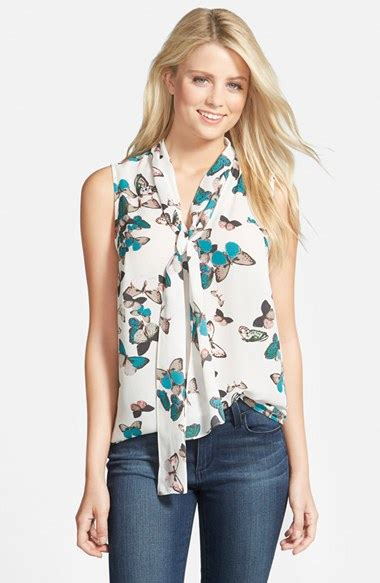 Cut Out Top Blouse Sabrina Casual halogen tie neck sleeveless blouse in white lyst