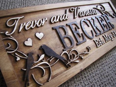 Handmade Family Name Signs - personalized couples name signs custom wedding gift