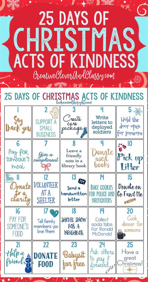 25 days of christmas letter for boyfriend 25 days of acts of kindness free printable