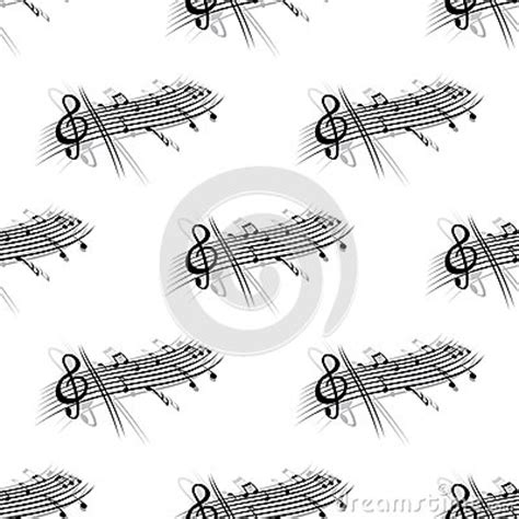 design pattern short notes music score and notes background seamless pattern stock