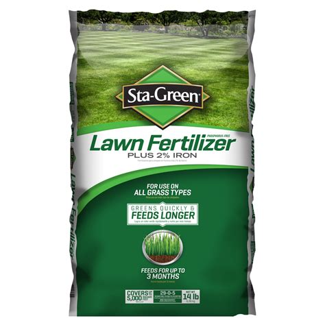is fertilizer shop sta green 5m 14 lb lawn fertilizer 29 0 5 at lowes