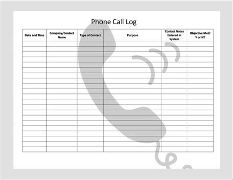 phone call organizer 40 printable call log templates in microsoft word and excel