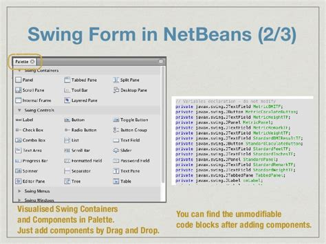 swing controls in netbeans console to gui