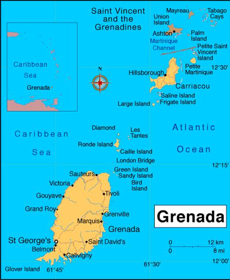 where is grenada located on a world map map of grenada caribbean islands