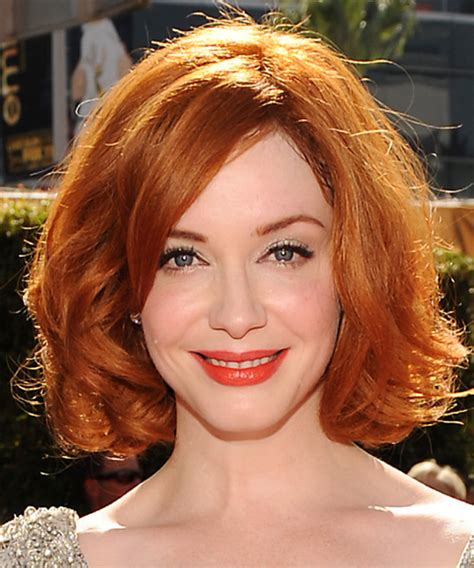 Christina Hendricks Medium Wavy Formal Bob Hairstyle with
