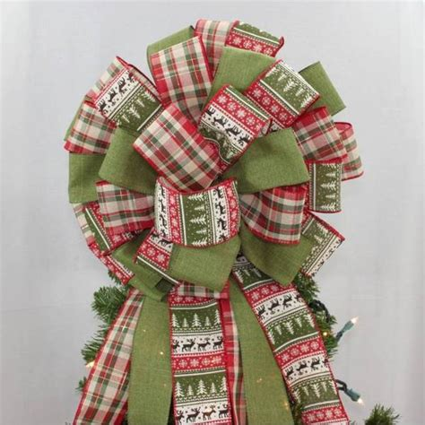 rustic holiday sweater plaid christmas tree topper bow