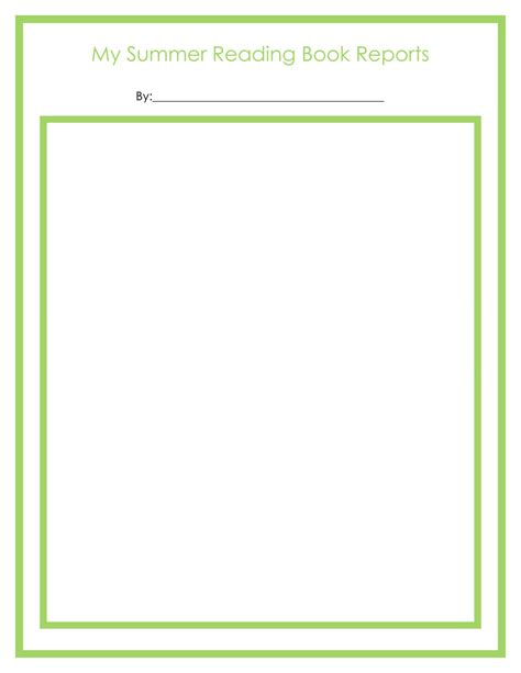 free first grade book review template book review