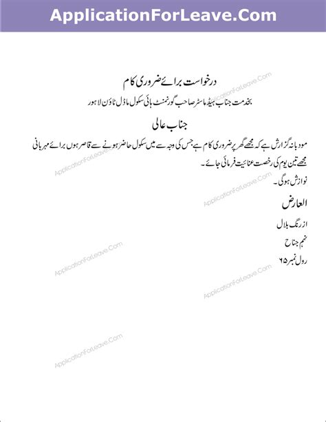 Application Letter Urdu Application For Leave In Urdu Language