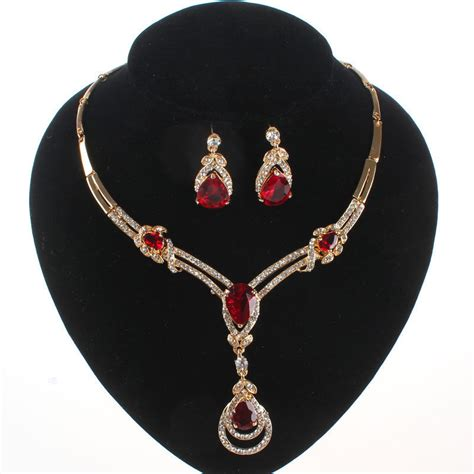garnet ruby topaz pendant gold plated necklace