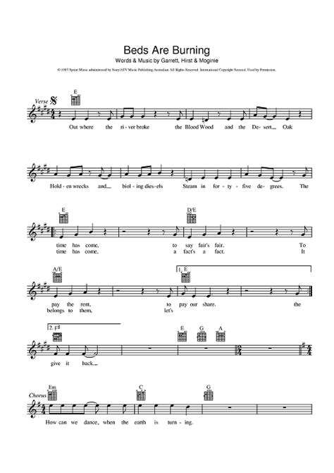free music beds beds are burning sheet music music for piano and more