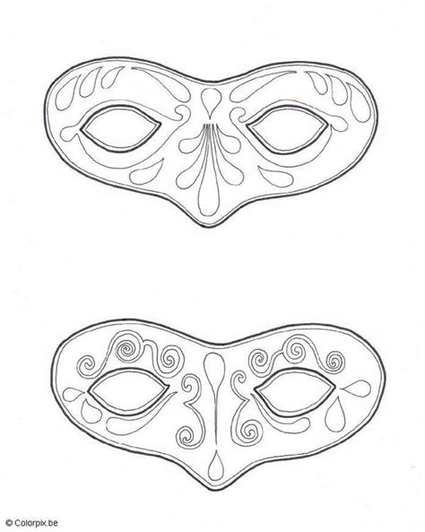 free carnival mask template coloring pages