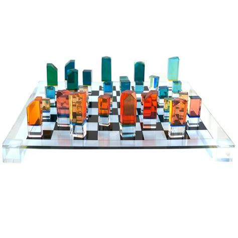 mid century modern chess set mid century modern chess game board set with lucite pieces