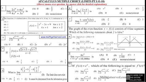calculus ab section 2 part a answers ap calculus ab interactive multiple choice practice test