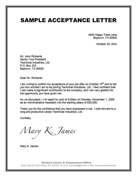 40 professional offer acceptance letter email