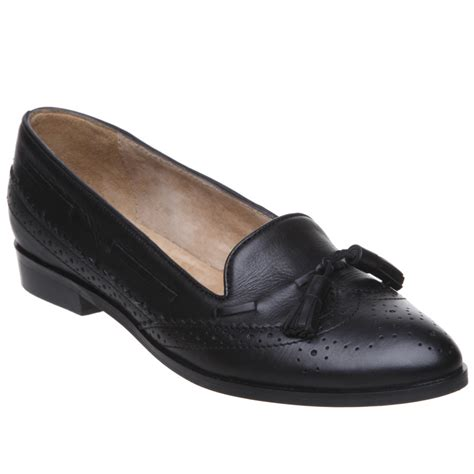 new pied a terre womens leather black flat