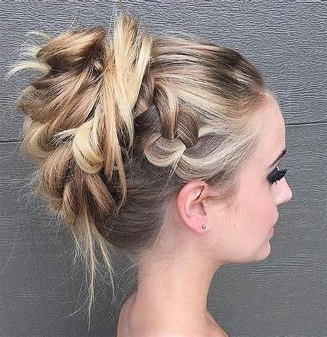 formal hairstyles messy bun with braid 40 most delightful prom updos for long hair in 2018