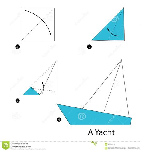 step by step how to make origami a yacht