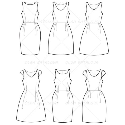 clothes pattern templates women s empire waist dress fashion flat template