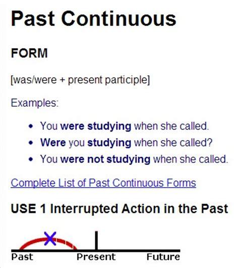 the pattern of past continuous tense past progressive