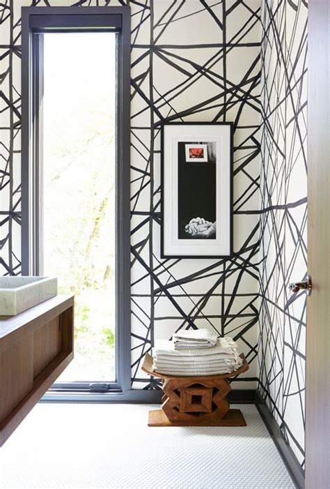 black and white wallpaper for bathrooms bathroom black white wallpaper kelly wearstler