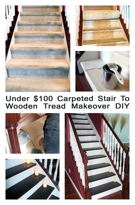 Diy Stairs Remodel by Remodelaholic Under 100 Carpeted Stair To Wooden Tread