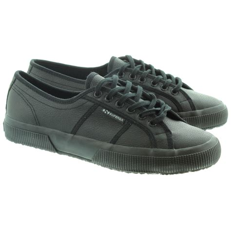 superga 2750 leather cotu adults lace shoes in all black