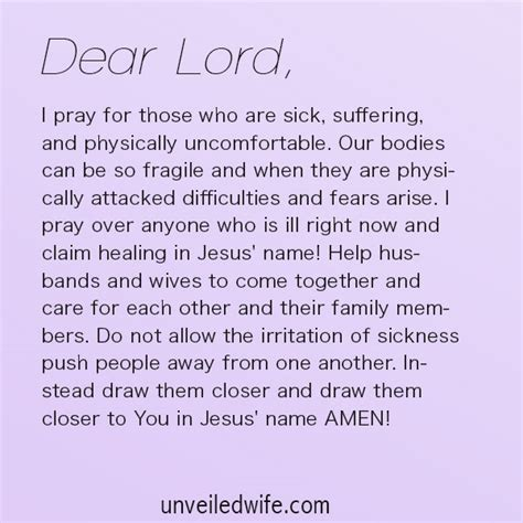 prayer for sick prayer healing for sickness