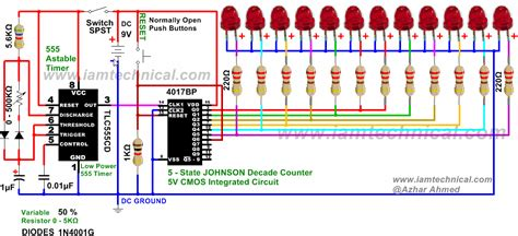led running display circuit diagram two way 12 led s running lights using 4017 and 555 astable