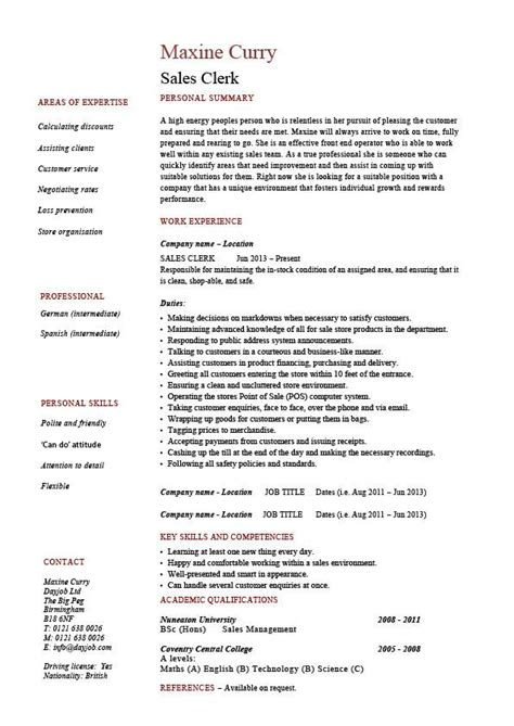 commercial model job description sales clerk resume exle sle cash handling cv