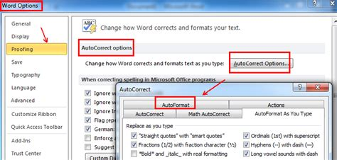 format html auto turn on automatic formatting options microsoft office