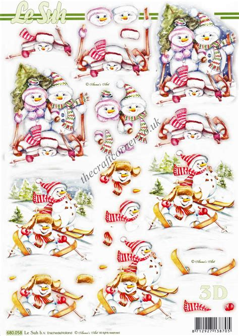 Die Cut Decoupage Sheets - snowmen skiing die cut 3d decoupage sheet