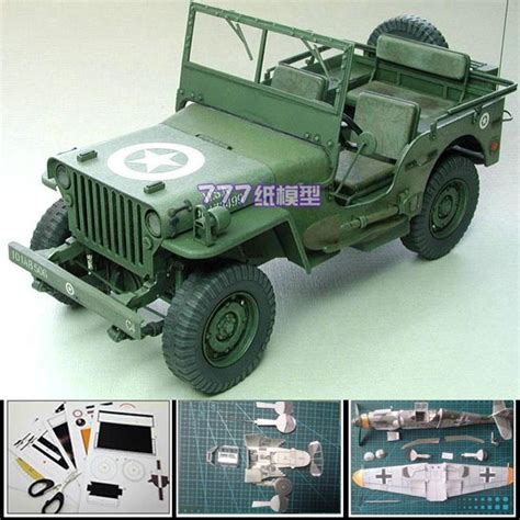 Papercraft Jeep - new 3d paper model car world war ii the us willys jeep