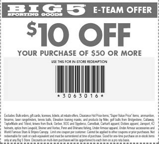 Big 5 Coupon Printable 2018