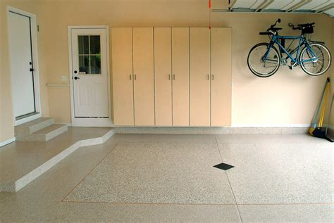 white painting color garage floor coating epoxy with wood wall mounted cabinet and hanging