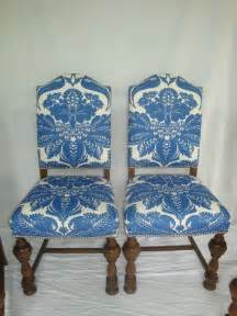 Damask Dining Room Chairs 1920s Dining Chairs With Blue And White Stroheim Damask