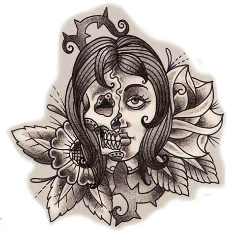 half woman half skull tattoo designs skull images designs